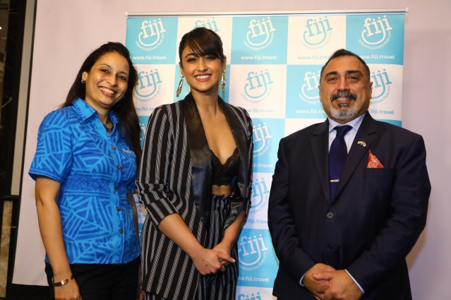 Tourism Fiji Brand Ambassador Ileana D'cruz with the High Commissioner of the Republic of Fiji, His Excellency, Mr. Yogesh Punja & Country Manager India, Ms. Seema Kadam at the unveiling of their brand campaign .jpg