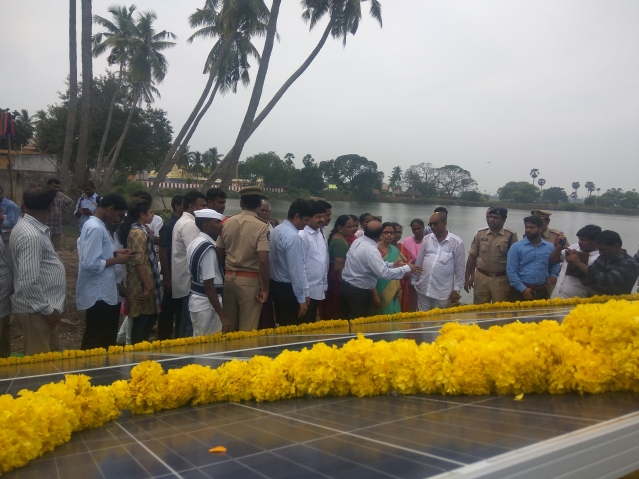 Inuguration by Mrs. Nara Bhuvaneswari, wife of Honorable Chief Minister of Andhra Pradesh, N Chandrababu Naidu of the solar plant donated by CleanMax Solar at Komaravalu